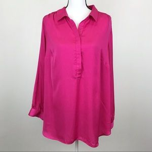 Apt. 9 Pink Partial Button Down Tunic